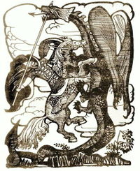 Добрыня Никитич убивает Змея Горыныча, Автор Иван Билибин