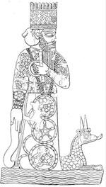 Древний месопотамский бог Мардак и его дракон, на вавилонской печати