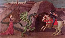 Святой Джордж убивает дракона. Картина Паоло Укчело, 1470 г.