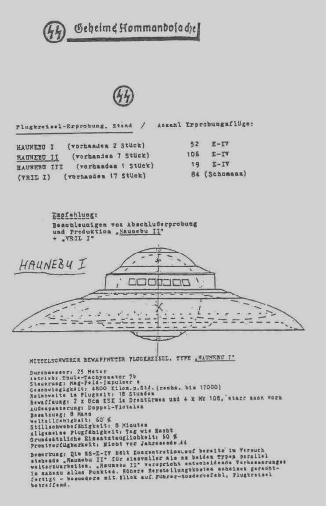 Чертёж корабля НЛО Третьего Рейха Хэунебу