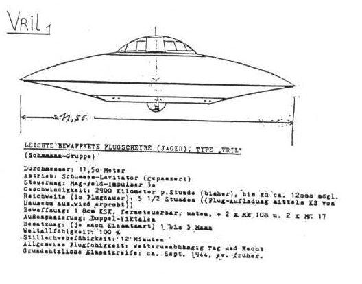 Чертёж НЛО Третьего Рейха Врил-1