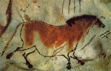 Наскальное изображение лошади в пещере Ласкаукс