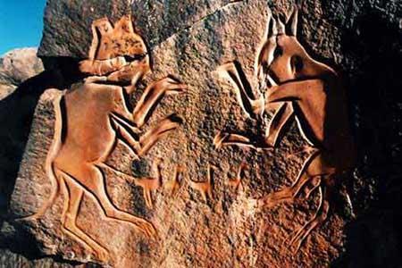 Дикие тигры охотятся на диких антилоп. Древняя Ливия
